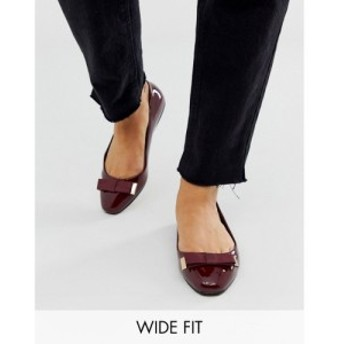 エイソス ASOS DESIGN レディース スリッポン・フラット シューズ・靴 Wide Fit Lexy bow ballet flats in oxblood Oxblood