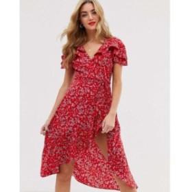 ブーフー Boohoo レディース ワンピース ワンピース・ドレス midi wrap dress in red ditsy floral Multi