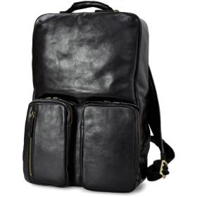 本革 ビジネスリュック メンズ B4 レザー リュック メンズ PC収納 CH-P126(ブラック)