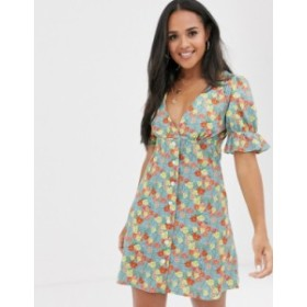 エイソス レディース ワンピース トップス ASOS DESIGN puff sleeve tea dress in floral print Floral print