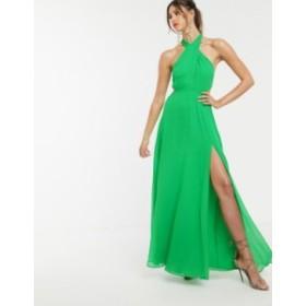 エイソス レディース ワンピース トップス ASOS DESIGN maxi dress with crossover neck Green