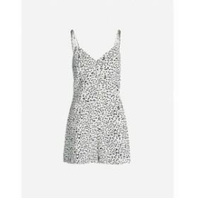 リース REISS レディース オールインワン ワンピース・ドレス Brinley dot-print cotton and linen-blend playsuit Monochrome