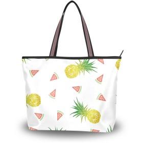 Akiraki トートバッグ レディース 大容量 メンズ おしゃれ かわいい ハンドバッグ バッグ 旅行 パイナップル 果物 西瓜 スイカ かわいい 白 ホワイト 通勤 通学 ファスナー キャンパス 軽量 防水 肩掛け 誕生日 プレゼント