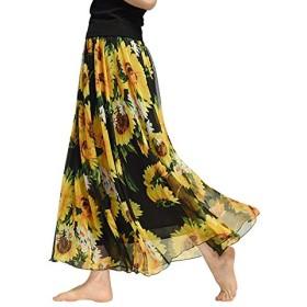 レディーススカート マキシスカート シフォンスカート 花柄 広幅 ロングスカート