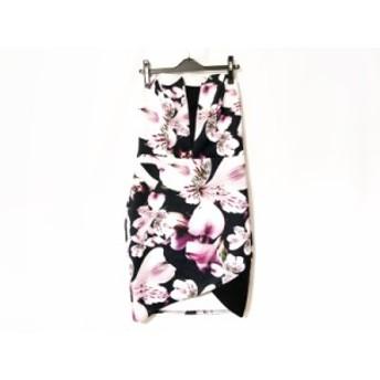 リプシー LIPSY ワンピース サイズ42 L レディース 黒×白×マルチ 花柄【中古】20190819