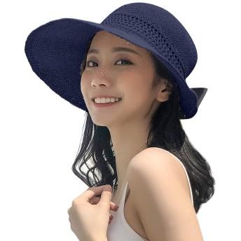 Limakara麦わら帽子 レディース UVカット 折り畳み リボン つば広 ワイヤー入り 夏 リゾート サンバイザー 大きい おしゃれ ひよけ 軽量 小顔効果 可愛い サイズ調節可 取り外しあご紐付き 女優帽 旅行用(ネイビー)