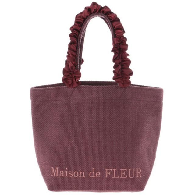 メゾンドフルール Maison de FLEUR バスケットクロスフリルハンドルトートSバッグ (Burgundy)