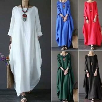 【メール便送料無料】秋の長い綿麻のワンピースの長袖のワンピースの長いワンピースの韓国のファッションのワンピース