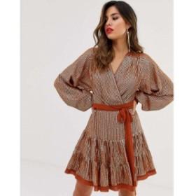 エイソス ASOS DESIGN レディース ワンピース ワンピース・ドレス embellished mini dress in all over sequin with skater skirt Rust a