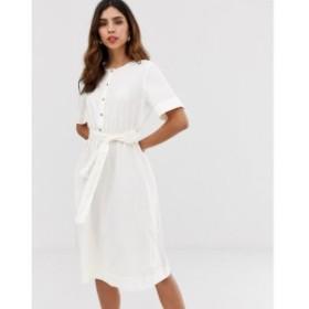 ヴェロモーダ Vero Moda レディース ワンピース ワンピース・ドレス button through tie waist midi shirt dress White