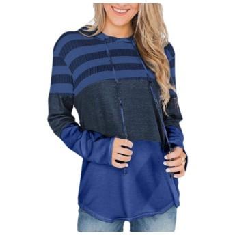 VITryst 女性ストライプフードトリムフィット巾着Tシャツプルオーバートレーナー Blue S