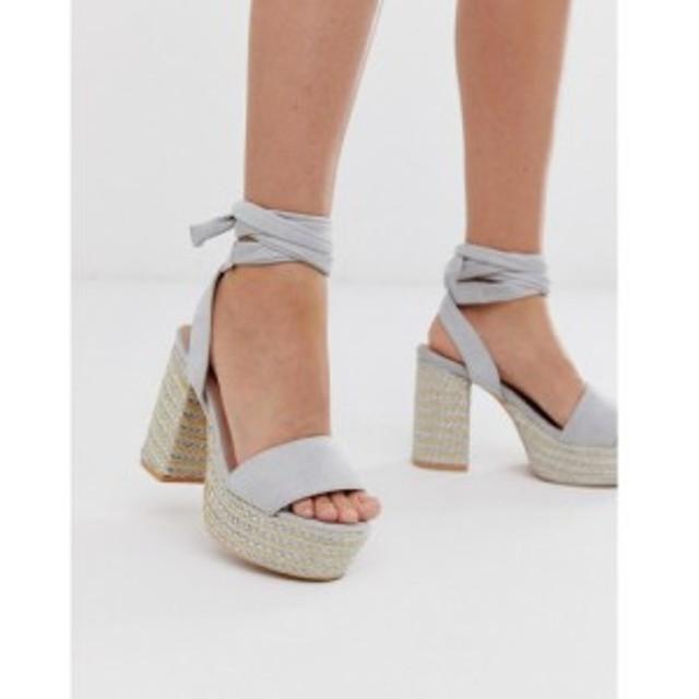 ロストインク Lost Ink レディース サンダル・ミュール シューズ・靴 Bali tie leg heeled platform sandals Grey