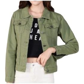 VITryst 女性固体ボタンデニムスリムロングスリーブラペルコートジャケット Army Green XS