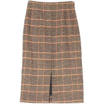 ユアーズ ur's フロントスリットタイトスカート (チェック/ブラウン)