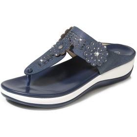 [HSFEO] ビーチサンダル ビーサン ミュール レディース 夏靴 ストーン 歩きやすい ウェッジソール サボ シンプル カジュアルシューズ 柔らかい 滑り止め ボヘミアン風 ファッション 26.5cm