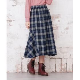 チェック柄ロングスカート (大きいサイズレディース)スカート,plus size