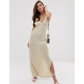 エイソス レディース ワンピース トップス ASOS DESIGN jersey knit maxi dress with twist straps Sand