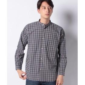 (koe/コエ)ドロップ バンドカラーブロードチェックシャツ/メンズ グレー