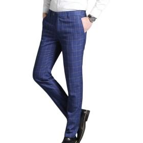 chenshiba-JP メンズビジネススリムフィットドレスパンツプレイドストレート脚パンツパンツ Blue 32