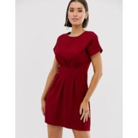 エイソス レディース ワンピース トップス ASOS DESIGN nipped in waist mini dress Red