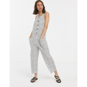 エイソス レディース ワンピース トップス ASOS DESIGN sleeveless button front boilersuit in animal print Animal spot