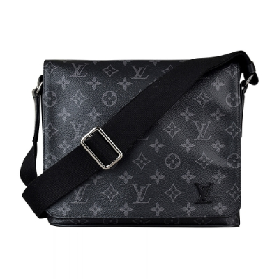 LV M44000 DISTRICT PM花紋LOGO Monogram帆布扣式斜背包(黑