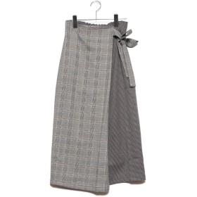 スタイルブロック STYLEBLOCK 先染めチェック柄切り替えラップ風スカート (ライトベージュ)