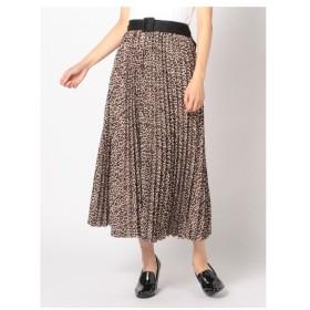 UNRELISH(アンレリッシュ)ベルト付レオパードプリーツスカート