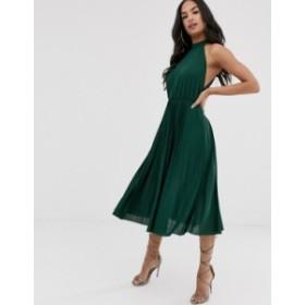 エイソス レディース ワンピース トップス ASOS DESIGN Halter Pleated Waisted Midi Dress Forest green