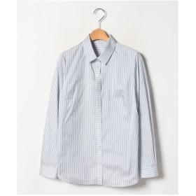 レリアン シルク混ストライプシャツ(ロイヤルブルー)