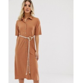 エイソス ASOS DESIGN レディース ワンピース ワンピース・ドレス midi button through shirt dress with rope belt Mocha