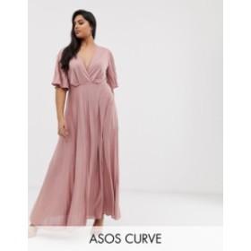 エイソス レディース ワンピース トップス ASOS DESIGN Curve kimono pleated maxi skater dress Rose