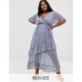 ニュールック レディース ワンピース トップス New Look Curve ruffle maxi dress in blue ditsy floral Blue