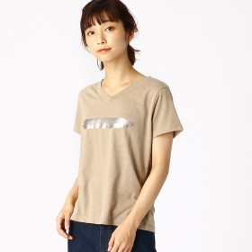 コムサイズム COMME CA ISM 箔プリントTシャツ (ベージュ)