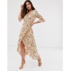 プリティリトルシング PrettyLittleThing レディース ワンピース ワンピース・ドレス midi wrap dress in cream floral Multi