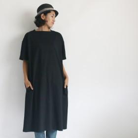 ●秋PRICE● 110cm丈 度詰天竺コットン100%Tシャツ・カットソー 首元スクエア ネック ワンピース ブラック G80B
