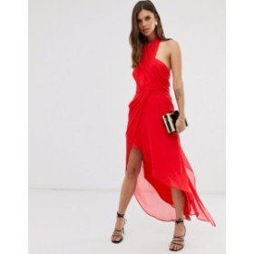 エイソス レディース ワンピース トップス ASOS DESIGN midi dress in soft chiffon drape with wrap neck Red