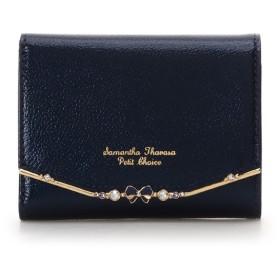 サマンサタバサプチチョイス リボンバー金具 折財布 ネイビー