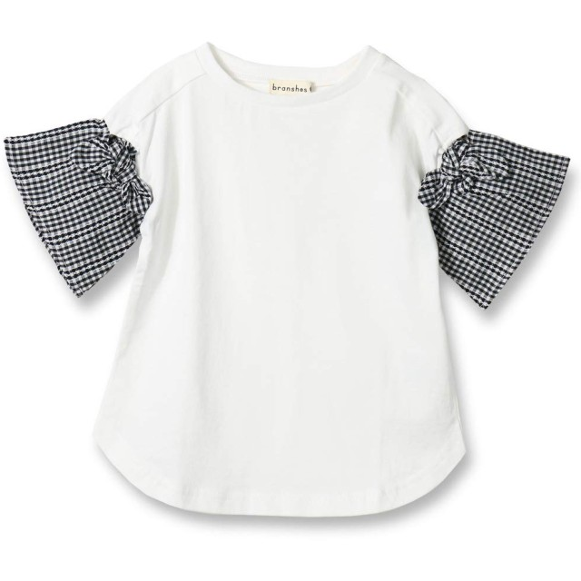 [ブランシェス] 袖チェック 半袖 Tシャツ 90cm オフホワイト