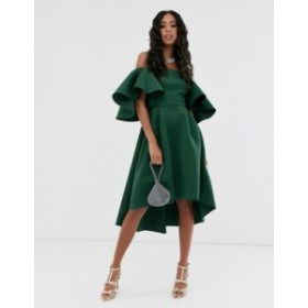 エイソス レディース ワンピース トップス ASOS DESIGN flutter sleeve bandeau midi prom dress Forest green