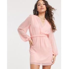 ティー エフ エヌシー TFNC レディース ワンピース ワンピース・ドレス gathered long sleeve foil mini dress Pink