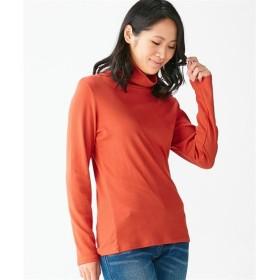 綿100%タートルネックTシャツ (大きいサイズレディース)Tシャツ・カットソー
