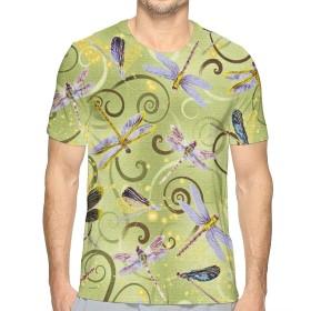 トンボ夏 Tシャツ 半袖 メンズ 丸首 今季最新 量軽 爽快 3Dプリント 薄手 吸汗速乾 ファッション おしゃれ