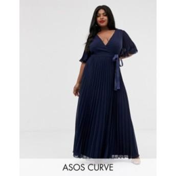 エイソス レディース ワンピース トップス ASOS DESIGN Curve exclusive maxi dress with kimono sleeve and tie waist in pleat Navy