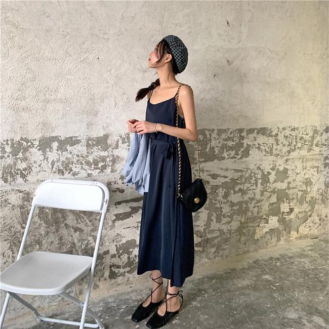 FOFU-連身裙簡約氣質款素面細肩吊帶連身裙【08G-M1023】