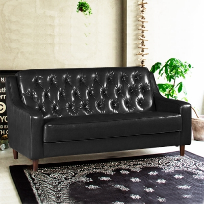 Ally愛麗-新上海-百年經典復古三人沙發172cm-三人座皮沙發-黑色-