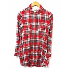 【中古】エドウィン EDWIN シャツ カットソー チェック柄 長袖 コットン 100 赤  メンズ 【ベクトル 古着】