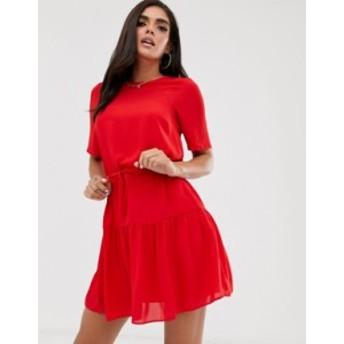 エイソス レディース ワンピース トップス ASOS DESIGN tiered mini dress Red