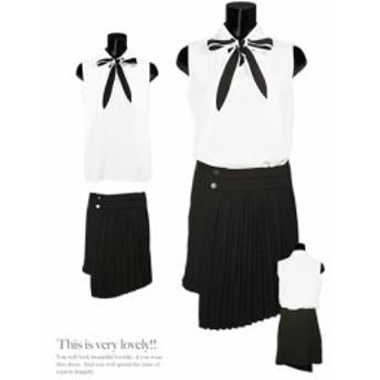 【Tika ティカ】ネックリボンバイカラーアシンメトリーデザインプリーツツーピースフレアミニドレス[S/M][白x黒]