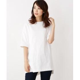(OPAQUE. CLIP/オペークドットクリップ)【42(LL)WEB限定サイズ】綿天竺チュニックTシャツ/レディース ホワイト(002)